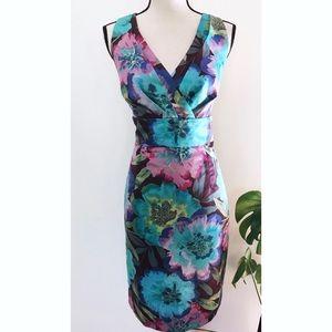 Calvin Klein Floral Turquoise Mixed Sheath Dress 8